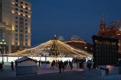 莫斯科,俄罗斯- 1月10 2016年 圣诞节公平在Manezh广场 库存图片