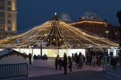 莫斯科,俄罗斯- 1月10 2016年 圣诞节公平在Manezh广场 免版税图库摄影