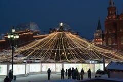 莫斯科,俄罗斯- 1月10 2016年 圣诞节公平在Manezh广场 免版税库存照片