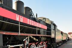 莫斯科,俄罗斯- 4月1 2017年 在铁路运输发展的历史博物馆说的EM机车-我们击败- 库存照片