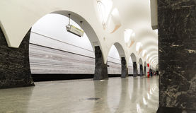 莫斯科,俄罗斯- 7月09 2015年 地铁车站Volokolamskaya内部  免版税库存图片