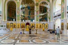 莫斯科,俄罗斯- 7月24 2017年 以纪念基督、新的俄国教会的受难者和忏悔者的复活的教会血液的, 免版税库存图片