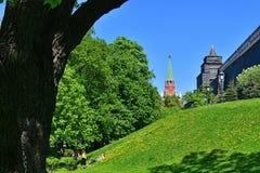 莫斯科,俄罗斯- 5月12 2018年 克里姆林宫的从亚历山大公园的三位一体塔看法  免版税库存图片