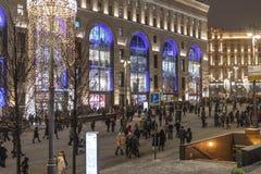 莫斯科,俄罗斯- 1月2 2019年 在卢比扬卡广场的许多圣诞节庆祝 库存照片