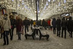 莫斯科,俄罗斯- 1月2 2019年 在卢比扬卡广场的许多圣诞节庆祝 免版税图库摄影