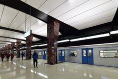 莫斯科,俄罗斯- 3月17 2018年 地铁车站Horoshevskaya内部  免版税库存图片
