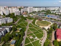 莫斯科,俄罗斯- 5月13 2018年 城市看法从上面 库存照片