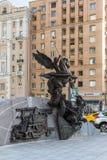 莫斯科,俄罗斯- 11月2 2017年 对卡拉什尼科夫, AK-47的设计师的纪念碑在Oryzheyny车道的 免版税库存图片