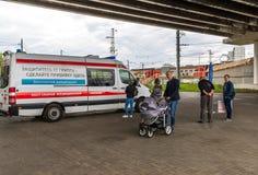 莫斯科,俄罗斯- 9月15 2017年 白云母的自由接种的医疗汽车在Zelenograd 库存照片