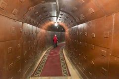 莫斯科,俄罗斯- 2014年11月29日,核地堡,一种前苏联秘密军事设施-备用指挥所长敲响了 图库摄影