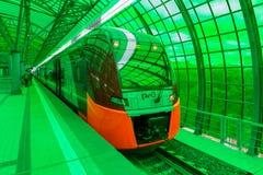 莫斯科,俄罗斯- 2016年9月13日:中央圈子线在驻地Delovoj centr的MCC Lastochka火车 图库摄影