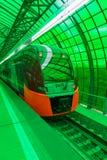 莫斯科,俄罗斯- 2016年9月13日:中央圈子线在驻地Delovoj centr的MCC Lastochka火车 免版税库存照片