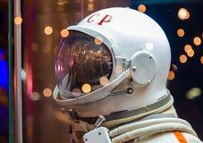 莫斯科,俄罗斯- 2016年5月31日:俄国宇航员太空服在太空博物馆 免版税库存图片