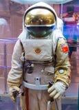 莫斯科,俄罗斯- 2016年5月31日:俄国宇航员太空服在太空博物馆 库存照片