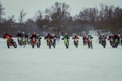莫斯科,俄罗斯- 2017年1月28日:摩托车越野赛 打开冠军 免版税库存照片