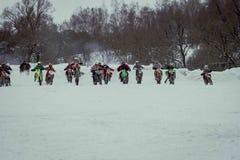 莫斯科,俄罗斯- 2017年1月28日:摩托车越野赛 打开冠军 库存图片