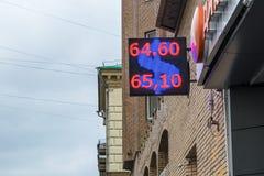 莫斯科,俄罗斯- 2016年11月27日:显示美元和卢布的街道显示货币汇率 库存照片