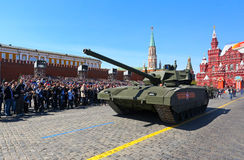 莫斯科,俄罗斯- 2015年5月07日:游行排练以纪念V的 库存图片