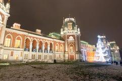 莫斯科,俄罗斯1月06日:盛大宫殿在Tsaritsyno博物馆和公园有圣诞树的 免版税库存照片