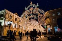 莫斯科,俄罗斯- 2015年12月25日:莫斯科装饰了隧道为 库存照片