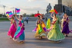 莫斯科,俄罗斯- 2016年9月02日:街道harinam sankirtana 库存图片