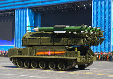 莫斯科,俄罗斯- 2015年5月07日:防空导弹复合体 免版税库存照片