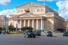 莫斯科,俄罗斯- 2016年8月16日:Bolshoi剧院, Ohotniy Ryad街道 俄罗斯的最著名的剧院 库存照片