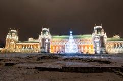 莫斯科,俄罗斯1月06日:Tsaritsy不在1月06,2018的晚上被阐明的圣诞节时间 免版税库存图片