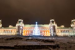 莫斯科,俄罗斯1月06日:Tsaritsy不在1月06,2018的晚上被阐明的圣诞节时间 库存照片