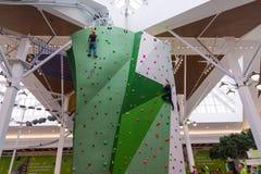 莫斯科,俄罗斯- 2016年8月30日 在商业区Zelenopark的大上升的墙壁 免版税库存照片