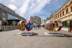 莫斯科,俄罗斯- 6月19日2018年莫斯科中心爱好者庆祝世界杯2018年 库存照片