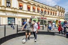 莫斯科,俄罗斯- 6月19日2018年莫斯科中心爱好者庆祝世界杯2018年 图库摄影