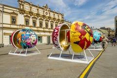 莫斯科,俄罗斯- 6月19日2018年莫斯科中心爱好者庆祝世界杯2018年 免版税库存照片