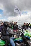 莫斯科,俄罗斯- 2016年4月23日 摩托车骑士打开春天s 免版税库存图片