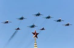 莫斯科,俄罗斯- 2015年5月9日 胜利游行在红场 库存照片