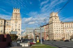 莫斯科,俄罗斯10月01日 2016年 著名历史的在Leninsky Prospekt的房子号码30和37a 库存照片