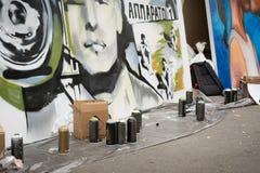 莫斯科,俄罗斯- 2016年6月18日 街道艺术家在比安奈尔的精通竞争 免版税库存照片