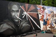 莫斯科,俄罗斯- 2016年6月18日 街道艺术家在比安奈尔的精通竞争 库存图片