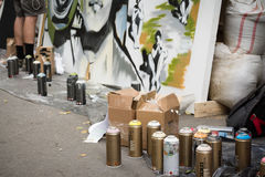 莫斯科,俄罗斯- 2016年6月18日 街道艺术家在比安奈尔的精通竞争 免版税库存图片
