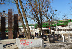 莫斯科,俄罗斯- 3月10 2016年 现代艺术的设施在地铁Kurskaya附近的一个公园 免版税图库摄影