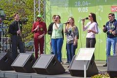 莫斯科,俄罗斯- 5月06 2017年 编组马塞勒斯声音在节日acappella在革命正方形的莫斯科春天 图库摄影