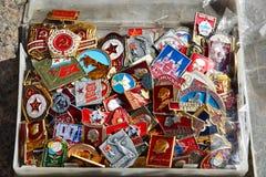 莫斯科,俄罗斯- 5月06 2017年 苏联的时期商业徽章  库存图片