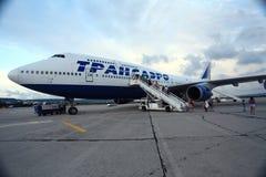 莫斯科,俄罗斯- 7月28 :上2014年7月28日的乘客一架飞机 免版税图库摄影