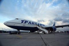 莫斯科,俄罗斯- 7月28 :上2014年7月28日的乘客一架飞机 免版税库存照片