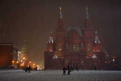 莫斯科,俄罗斯- 12月29 :红场一个宽看法有Th的 免版税库存图片