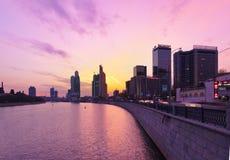 莫斯科,俄罗斯- 10月20 :莫斯科市的现代摩天大楼, 库存照片