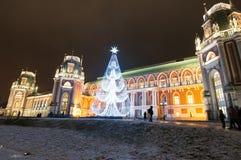 莫斯科,俄罗斯1月06,2018 :Tsaritsyno在圣诞节时间 免版税库存图片