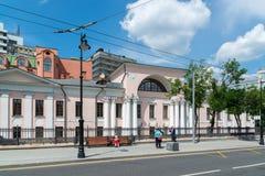 莫斯科,俄罗斯- 6月02 2016年 Lobanov-Rostovsky前庄园是在Myasnitskaya街上的建筑纪念碑 库存图片
