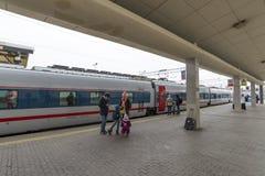 莫斯科,俄罗斯-01 11 2015年 高速火车在 免版税库存图片