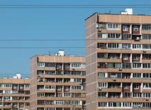 莫斯科,俄罗斯- 2016年:Porechnaya街道, Batayskiy proezd, Bratislavskaya Maryno区 典型的莫斯科住宅,分开 图库摄影